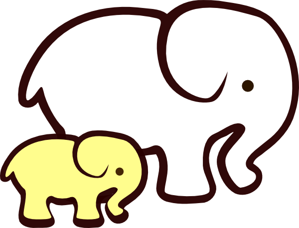 600x458 Yellowwhite Elephant Mom Amp Baby Clip Art