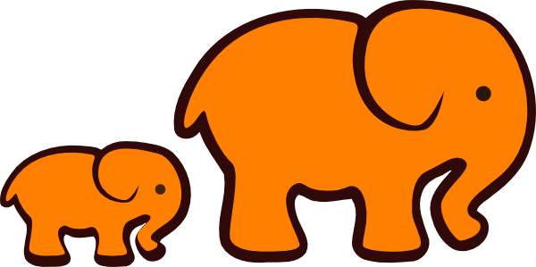 600x299 Orange Elephant Mom Amp Baby Clip Art