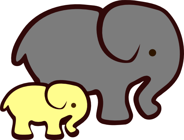 600x458 Yellow Elephant Mom Amp Baby Clip Art