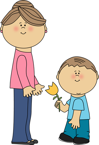 343x500 Boy With Flower For Mom Clip Art