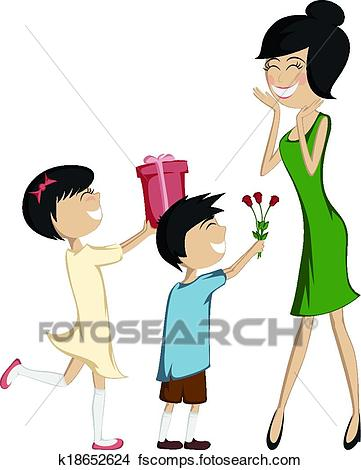 361x470 Clipart Of Surprise Mom! Son And Daughter K18652624