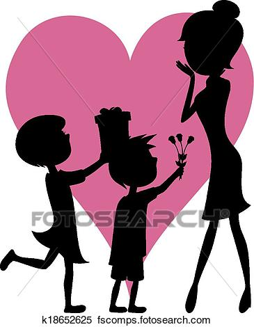365x470 Clipart Of Surprise Mom! Son And Daughter K18652625