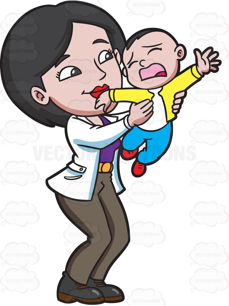 768x1024 A Mom Trying To Make Her Young Son Stop From Crying Cartoon