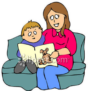 289x300 Mother And Son Read A Book, Sitting On Couch Royalty Free Clipart