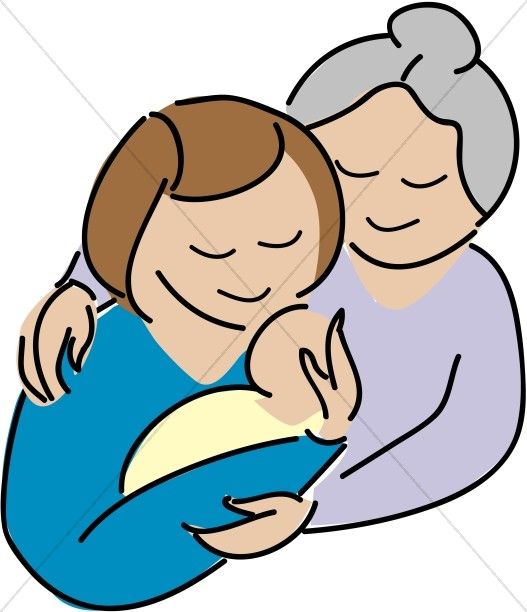 527x612 Son Putting Necklace On Mother Mother's Day Clipart
