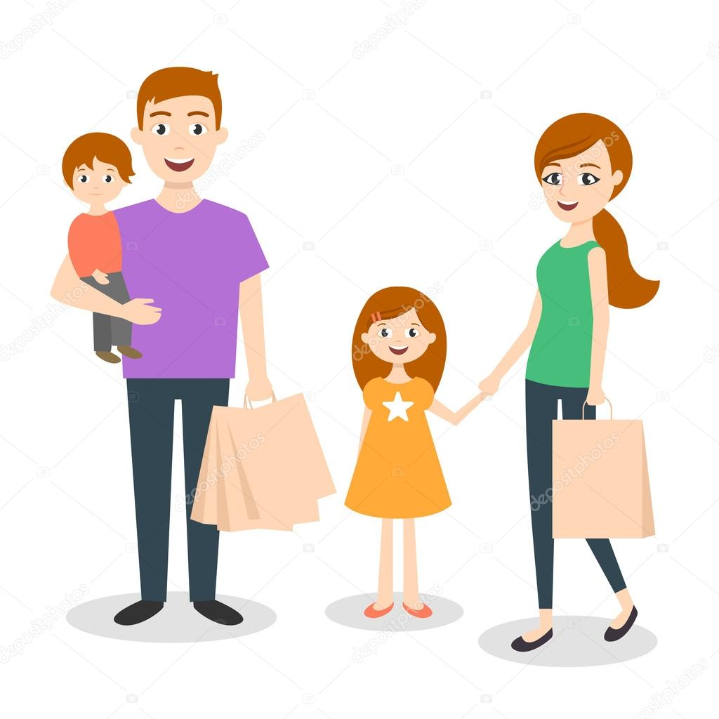 1024x1024 Vector Illustration Of Family Mom, Dad And Son. Shopping Bags