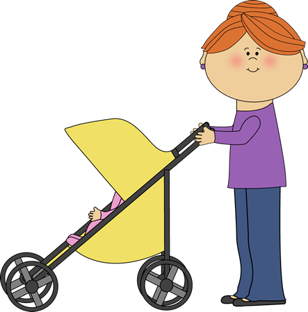 443x450 Mom Pushing Baby Stroller Clip Art Image