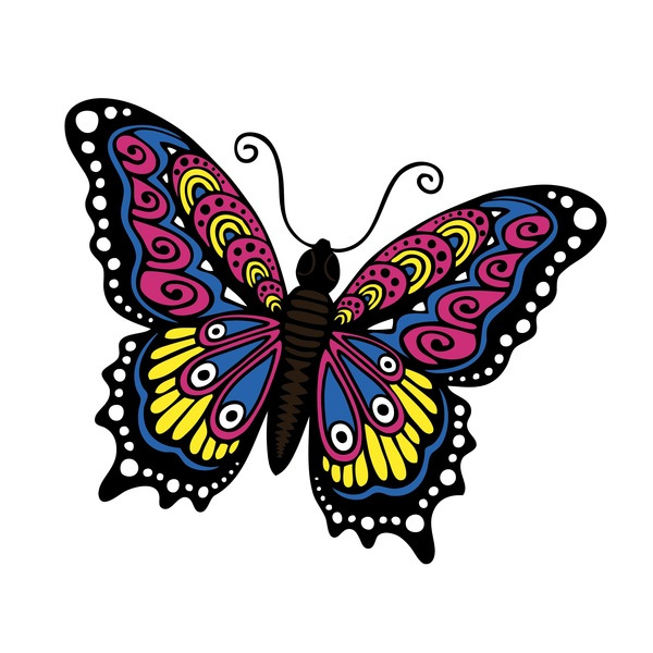 600x600 Flying Monarch Butterfly Outline Nvsi