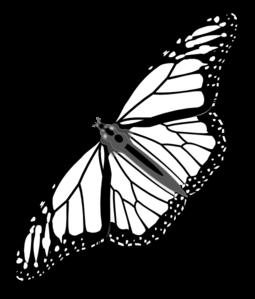 255x299 Monarch Butterfly Bw Clip Art