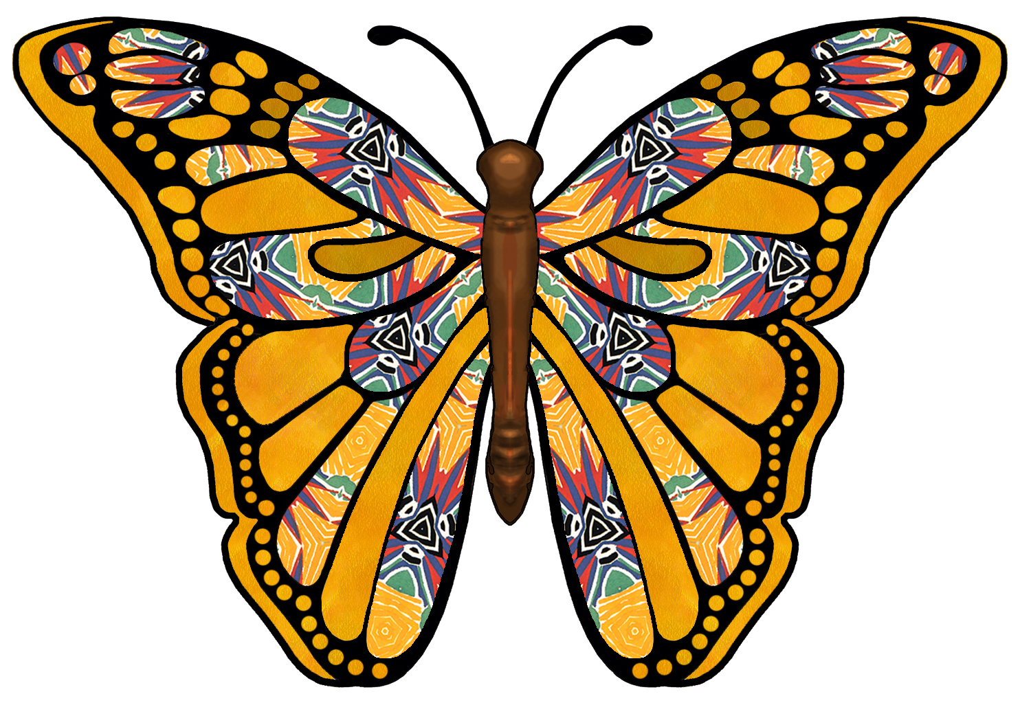 1484x1026 Monarch Butterfly Clipart Colorful Flying Butterfly