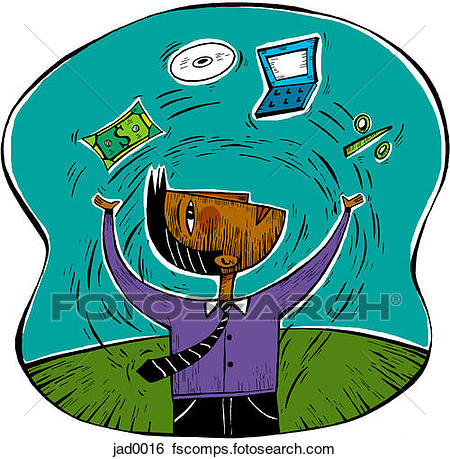 450x459 Stock Illustration Of Man Juggling Money And Technology Jad0016