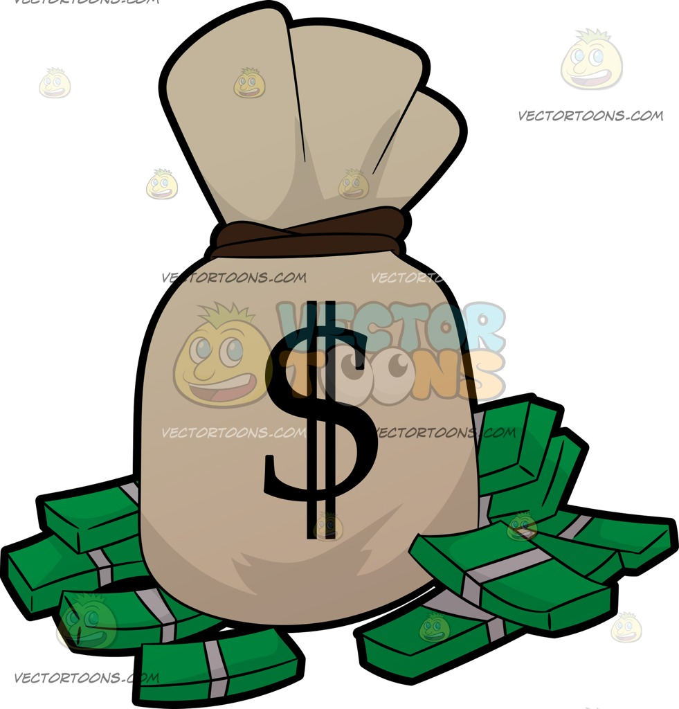 981x1024 A Bag Of Money And Bundles Of Cash Clip Art