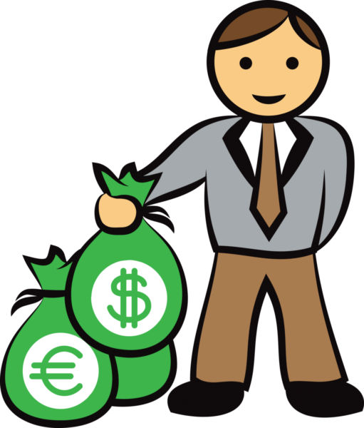 511x600 Business Man Holding Bag Of Money Vector