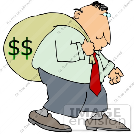 450x450 Clip Art Graphic Of A Man Carrying A Heavy Money Bag On His Back