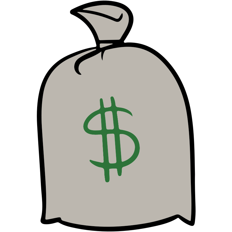 800x800 Free Simple Gray Money Bag Clip Art