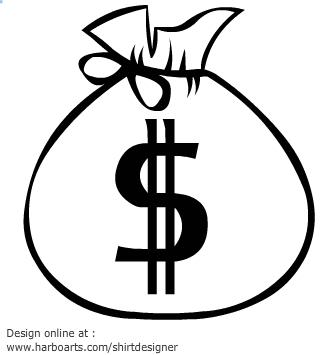 335x355 Money Bag Black And White Clipart