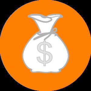 300x300 Orange Money Bag Clip Art