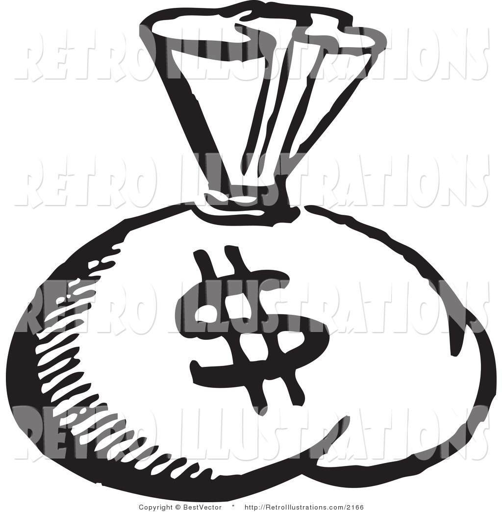 1024x1044 Retro Illustration Of A Black And White Money Bag With Dollar