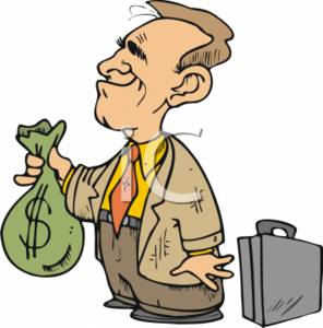296x300 Clipart Of A Businessman With A Big Money Bag