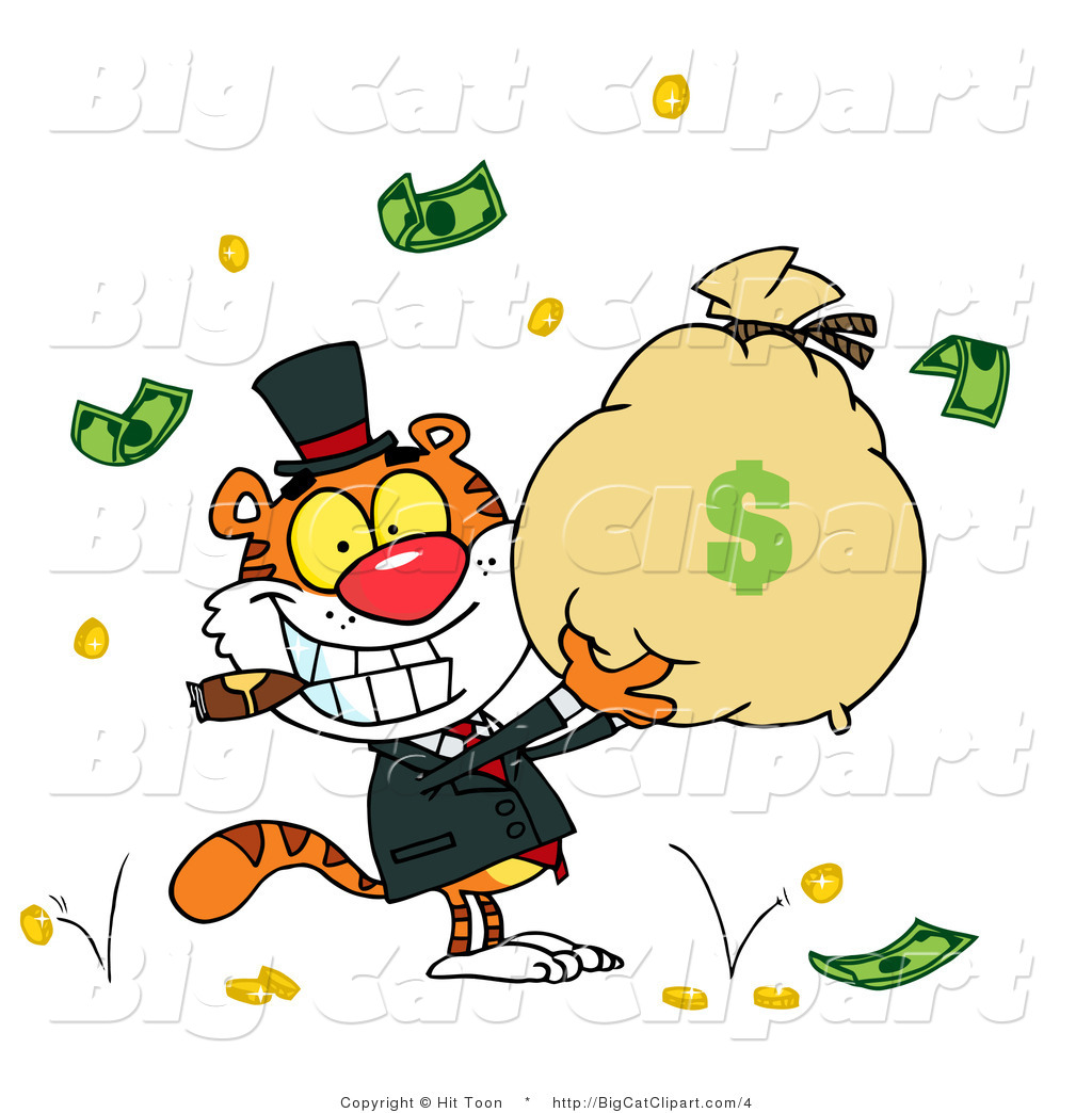 1024x1044 Big Cat Clipart Of A Rich Tiger Holding A Bag Of Money By Hit Toon