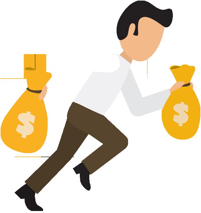 700x740 Cartoon Business Man Run With Money Bags 1designshop