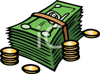 350x259 Royalty Free Clip Art Image Stack Of Paper Money And Some Coins