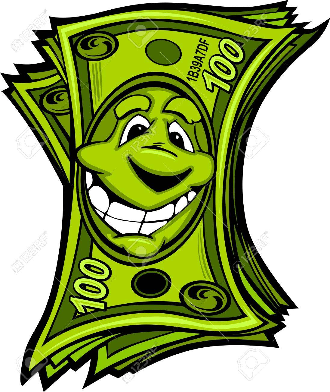1097x1300 Cartoon Money Hundred Dollar Bills With Smiling Face Cartoon
