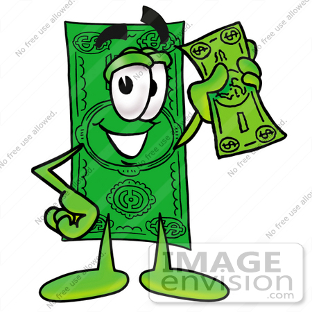 450x450 Clip Art Graphic Of A Flat Green Dollar Bill Cartoon Character