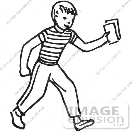 450x450 Clipart Of A Boy Holding Out Money Or Tickets In Black And White