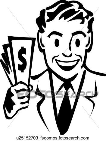 352x470 Clipart Of Businessman With Money U25152703