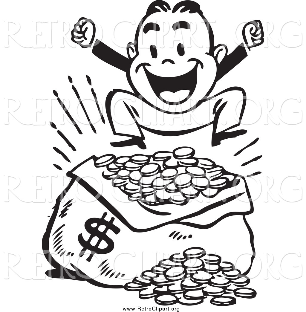 1024x1044 Clipart Of A Retro Black And White Happy Man Jumping Over A Sack