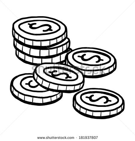 450x470 Coin Clipart Black And White