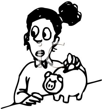 329x350 Girl Saving Money By Putting Coins In Piggy Bank Clip Art