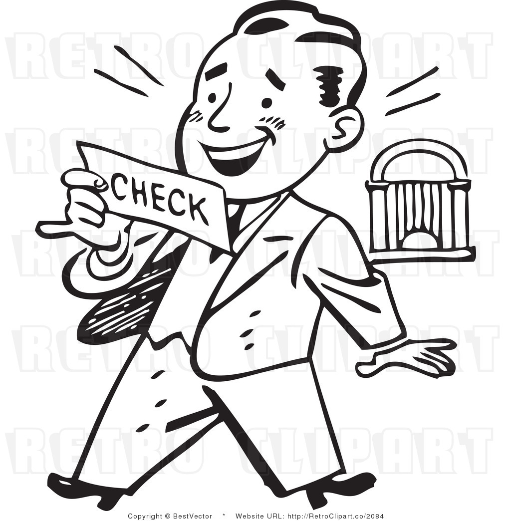 1024x1044 Retro Clip Art Of An Excited Businessman Looking