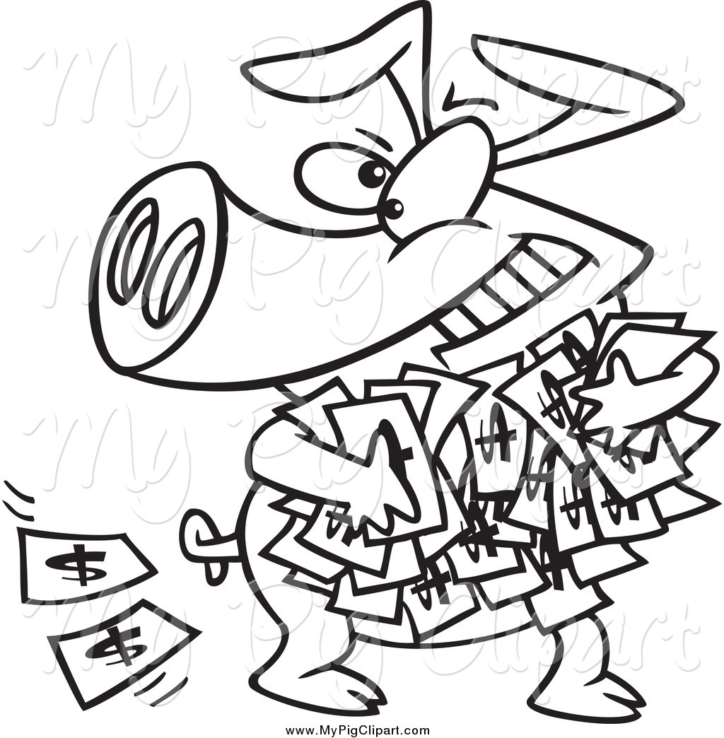 1024x1044 Swine Clipart Of A Black And White Greedy Pig With Money By