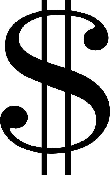 378x600 Black Dollar Sign Clip Art