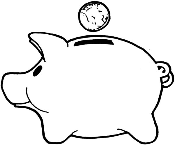 600x498 Black And White Piggy Bank Clipart