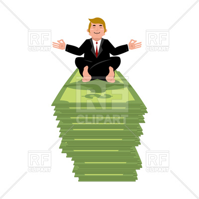 400x400 Business Yoga And Money. Businessman Meditating On Cash. Royalty