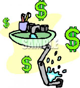 318x350 Money Down The Drain Clip Art