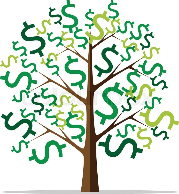739x800 Money Tree With Green Dollar Signs Isolated On White Background