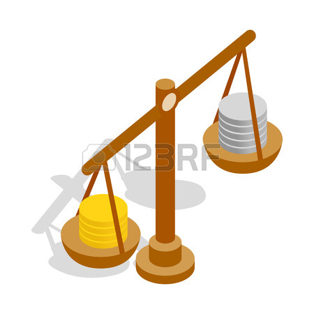 450x450 Scales With Coins Isometric Icon 3d On A Transparent Background