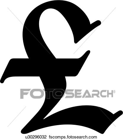 415x470 Clip Art Of , American, Cent Sign, Currency, Money, Old English