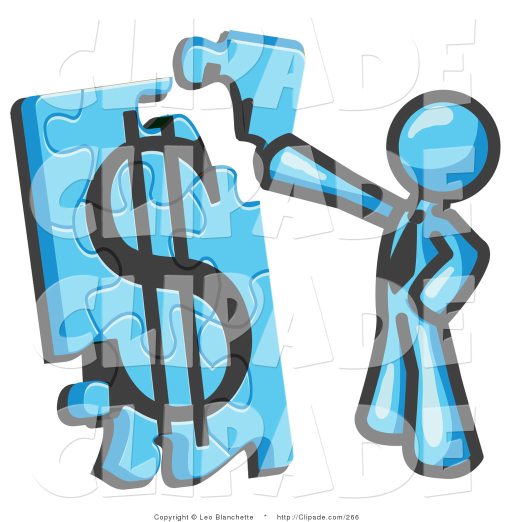 1024x1044 Clip Art Of A Light Blue Businessman Piecing A Dollar Sign Puzzle