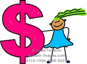300x222 Illustration Of Cute Little Girl Holding A Giant Dollar Sign