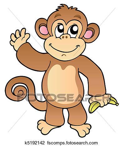 394x470 Clipart of Cartoon waving monkey with banana k5192142