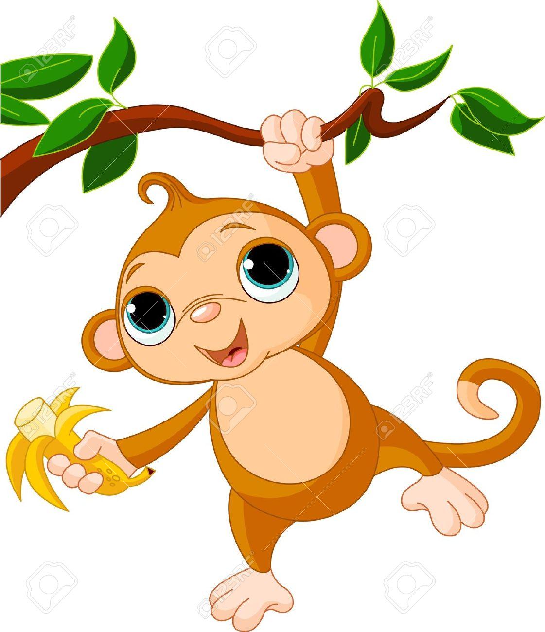1121x1300 Cute Baby Monkey On A Tree Holding Banana Royalty Free Cliparts