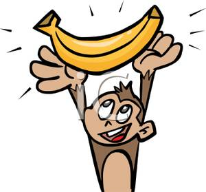 300x279 Free Clipart Image A Monkey Holding a Banana