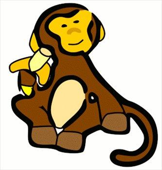 333x350 Free Monkey W Banana Clipart