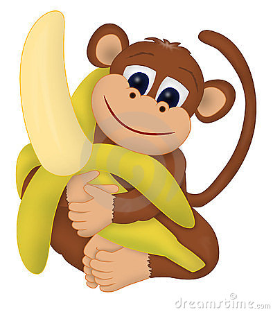 394x450 Gorilla With Banana Clipart