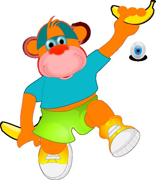 516x595 Monkey Holding Banana Clip Art